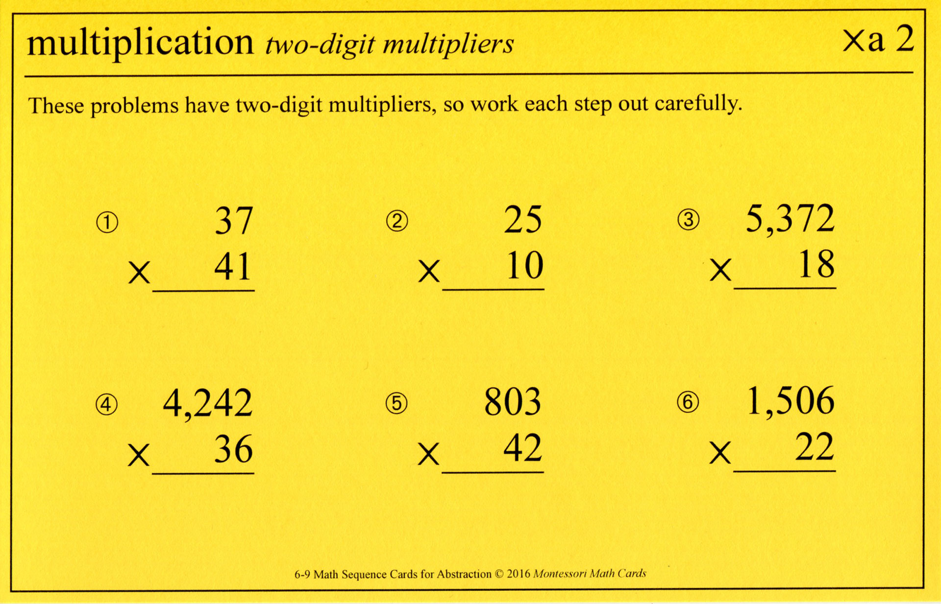 Le montessori 6 9 math sequence cards montessori math cards for Les multiplications
