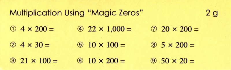 2g Multiplication Using Magic Zeros