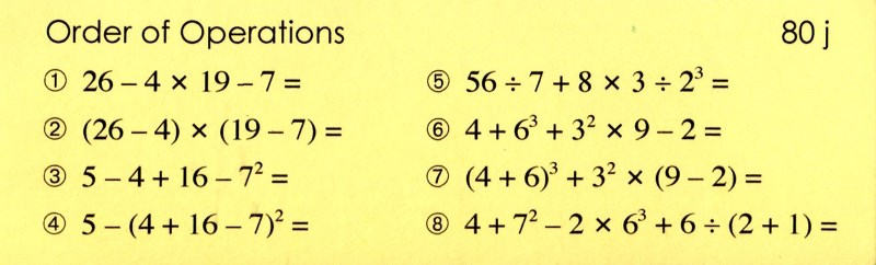 80j Order of Operations