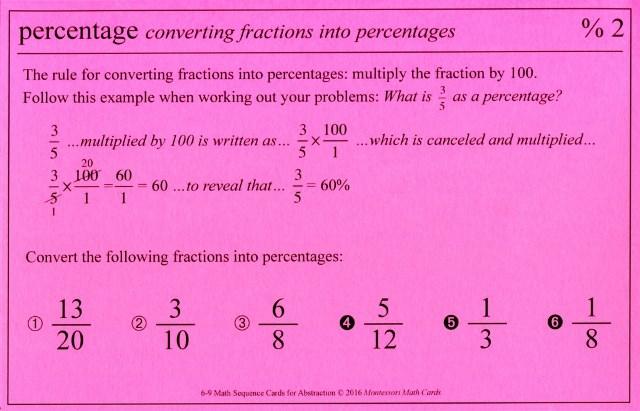 ASC %2 Percentage convert fractions