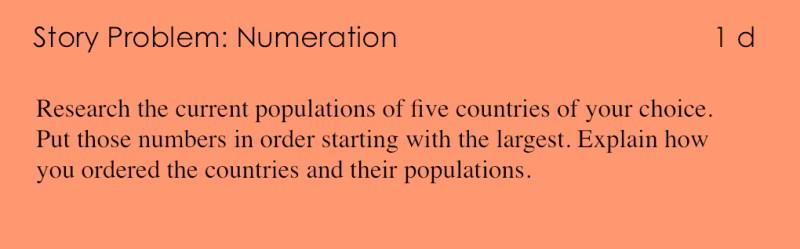 1d - Story Problem - Numeration