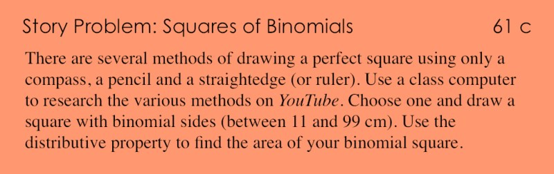 61c - Story Problem - Squares and Binomials