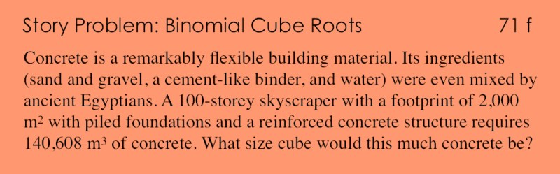 71f - Story Problem - Binomial Cube Roots