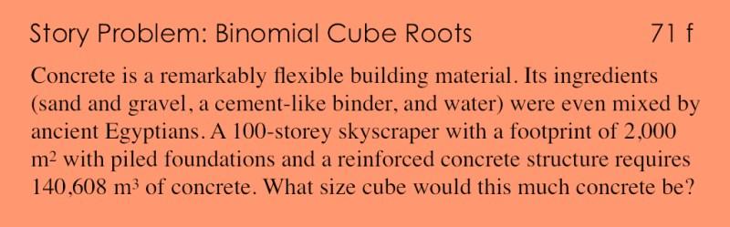 71f - Story Problem - Binomial Cube Roots